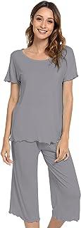 Sponsored Ad - NACHILA Womens Capri Pajama Set Short Sleeve Pjs Soft Sleepwear S-4XL