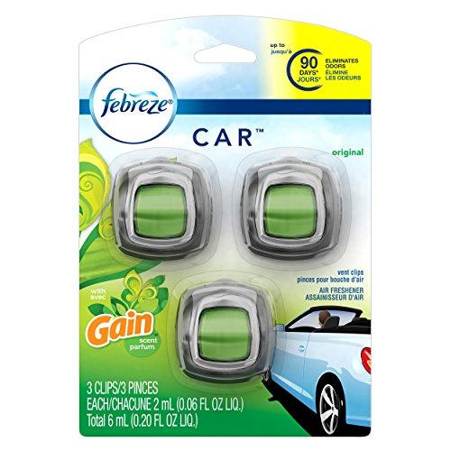 Febreze Car Vent Clip Air Freshener, Gain Original, 0.037 Pound