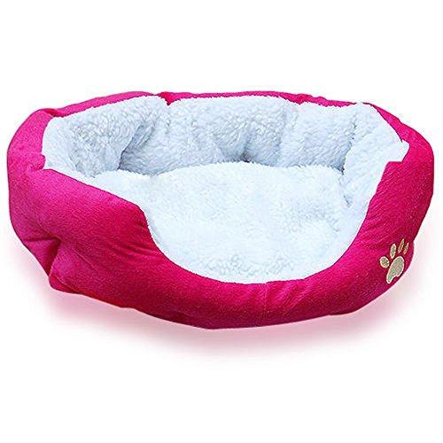 Ardisle Caliente y Suave Cachorro de Lana Mascotas Perro Cama para Gatos Casa Cesta Nest Mat Impermeable (Rosa roja)