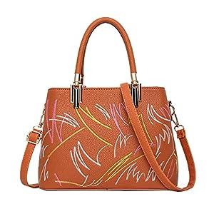 516g29BBufL. SS300  - Leathario Bolso de Mano Bandolera Hombro para Mujeres Mensajero Grande de PU Shopper Viaje Casual Compras de Moda