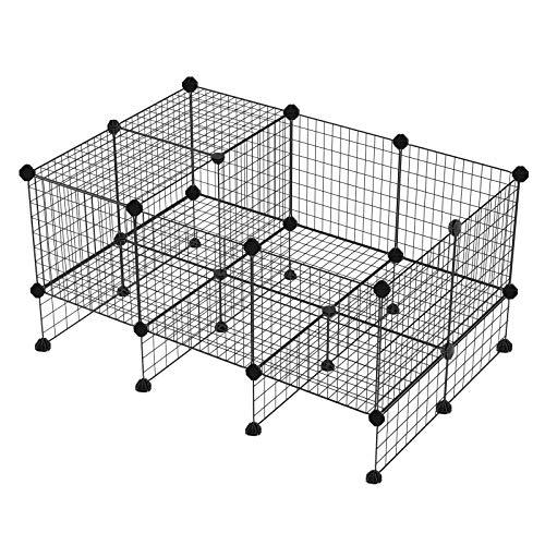 SONGMICS Metalen gaaskooi voor kleine dieren, expandeerbaar, doe-het-zelf, met vloerplaten, buitenverblijf, box voor huisdieren, cavia's, puppies, konijnen, binnengebruik LPI03H