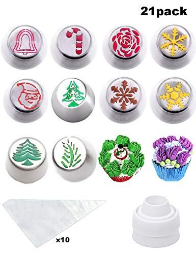 Cofe-BY Russian Piping Tips for Cake Decoration Supplies - 21pcs Cake Nozzles set, Rose Icing Nozzles Decorations Baking Kits 10 Piping Nozzles-1 Coupler -10 Disposable Pastry Bags