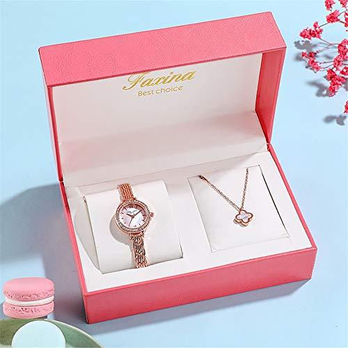 YIBOKANG 2-piece Set, Women Watch Pendant Set, Diamond Case, Small Dial, Steel Band Waterproof Quartz Bracelet Watch (Color : 5)