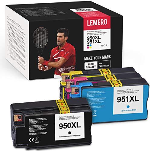 LEMERO 950 XL 951XL Multipack Tintenpatronen Ersatz für HP 950XL 951XL Druckerpatrone Kompatibel mit HP officejet pro 8600 8620 8100 8615 8630 8610 8600 8625 276dw,Schwarz Cyan Magenta Gelb