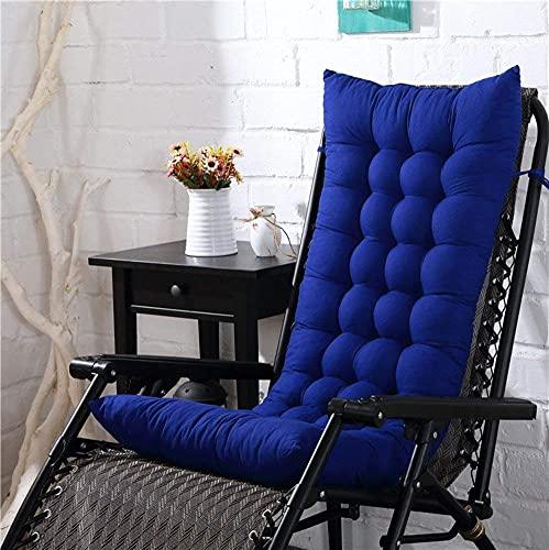 Cojines gruesos para tumbonas, sofá de algodón, cojín antideslizante para asiento de silla, más suaves y cómodos cojines de sillón para viajes, vacaciones, jardín, interior y exterior (azul, 125x48