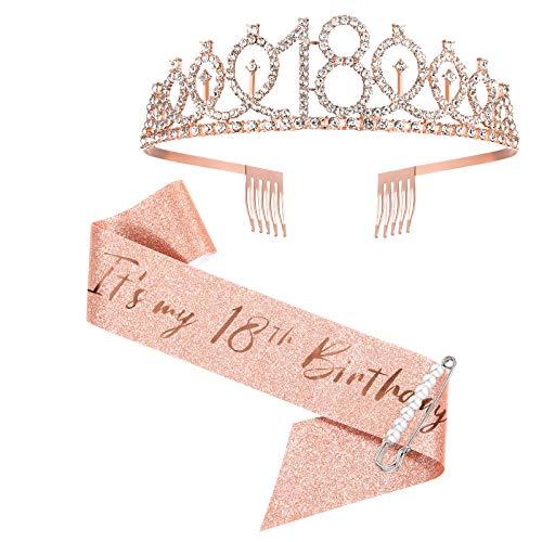 18. Geburtstag Schärpe und Tiara, Rose Gold Geburtstag Schärpe Krone 18 & Fabulous Schärpe und Tiara für Mädchen, 18. Geburtstag Geschenke für alles Gute zum 18. Geburtstag Party Favor Supplies