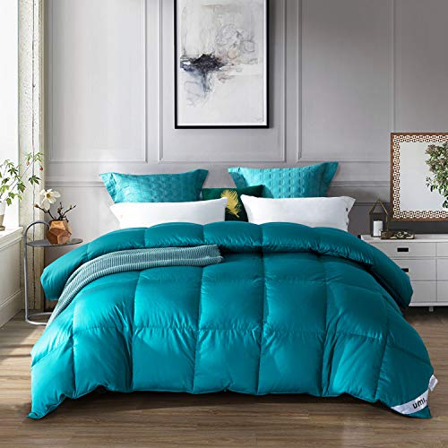 UMI. Essentials Goose Down Duvet with 100% Cotton Down-Proof Fabric (13.5 Tog, 650 Fill Power, King, Turquoise)