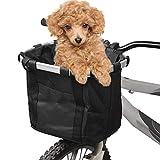 MIGHTYDUTY Cesta plegable para bicicleta, cesta delantera de lona, bolsa de transporte multiusos para manillar de bicicleta, cesta de manillar desmontable, gatos y mascotas, 34 x 28 x 25 cm