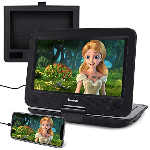 """NAVISKAUTO 10.1"""" Portable DVD Player with HDMI Input, Large Rechargeable Battery, Support Sync Phone/TV, CD/DVD/USB, Region Free, Including Car Headrest Mount"""