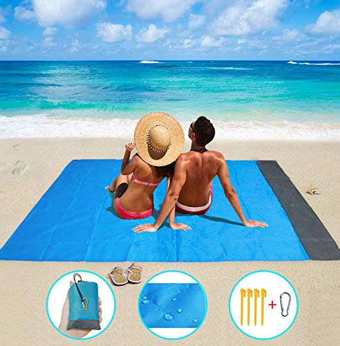 Eastjing 82 x 79 Sand Free Beach Blanket Water Resistant /& Sand Proof Beach Mat Camping Soft 70D Ripstop Nylon Pocket Picnic Blanket with 4 Stakes for Travel Hiking and Music Festivals
