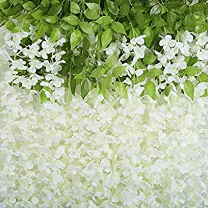 Artificial Wisteria Flowers 24 Pack 3.6 Feet Fake Wisteria Vine Ratta Hanging Garland Silk Flowers String Home Party Wedding Decor(White)
