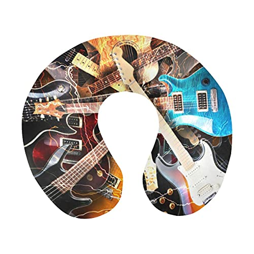 Genial Guitarra eléctrica rodeada de relámpagos Almohada de Viaje de Espuma viscoelástica...