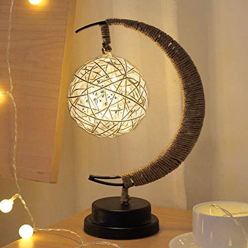 Lámpara LED para mesita de noche hecha a mano, cuerda de cáñamo, hierro forjado, luz nocturna, para escritorio, decoración del hogar (luz cálida-Sepak Takraw)