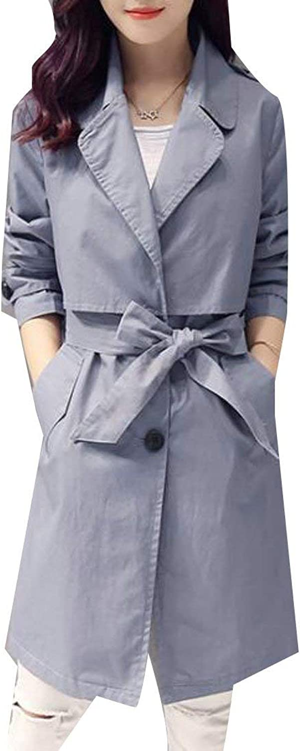 BU2H Womens Long Sleeve Button Down Lapel Belted Lightweight Trench Coat