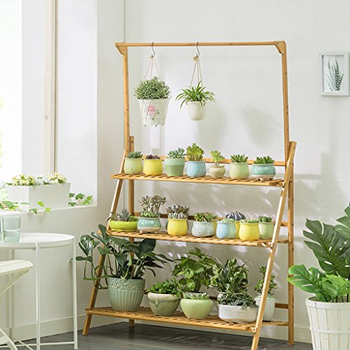 Yu Chuang Xin Porte-fleur en bambou plancher dur suspendu bambou salon multicouche pliage fleur rack et plus fleur de la fleur grille intérieure balcon extérieur (taille: 100 * 40 * 96cm) couleur du b