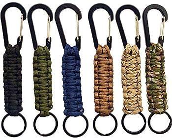 Qtopun Paracord Lot de 6 porte-clés mousquetons pour activités de plein air, kit de survie avec cordon tressé et anneau pour clés