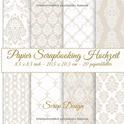 Papier Scrapbooking Hochzeit 8,5 x 8,5 inch 20,5 x 20,5 cm 20 papierblätter