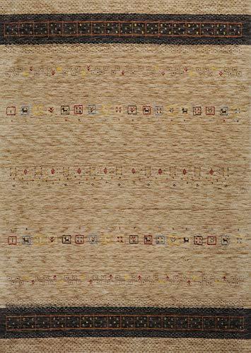 Moderner Gabbeh Teppich | Nachhaltig handgefertigt aus 100% Schurwolle mit Wollsiegel und Rugmark | 40 x 60 cm; Farbe: Steingrau | THEKO die markenteppiche - Lori Dream Gold