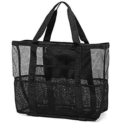 Mesh Beach Bag, Veckle Extra Large Beach Bag and Totes Heavy Duty Foldable Travel Beach Tote with 8 Pockets for Towels Toys Family Picnic Black