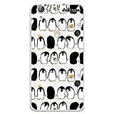 dakanna Funda Compatible con [Huawei Y6 II - Honor 5A] de Silicona Flexible, Dibujo Diseño [Pattern de pingüinos con Helado], Color [Fondo Transparente] Carcasa Case Cover de Gel TPU para Smartphone