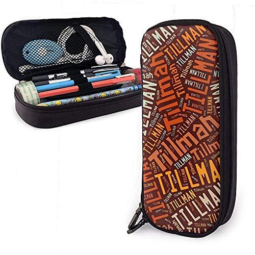 Tillman American Apellido Funda de cuero de alta capacidad Estuche para lápices Bolso de almacenamiento grande Organizador de caja Bolígrafo de oficina Bolso cosmético portátil