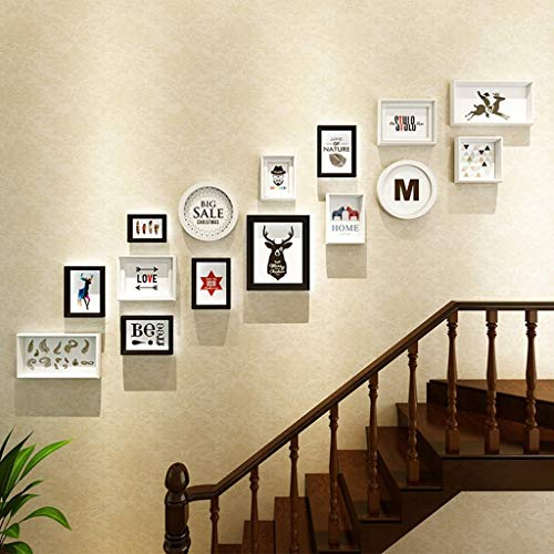GJJSZ Rahmen Foto Wand Treppe Wand Dekoration Foto Wand Foto Wand Foto Verb&holz Foto Wand Mode Design (Farbe:C)