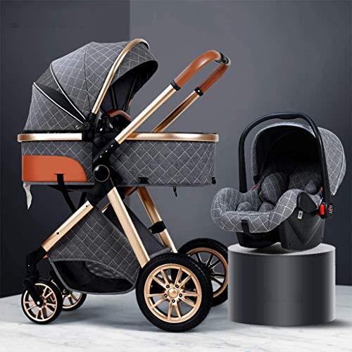 YZPTD 3 en 1 carruaje de Cochecito con Dosel de Gran tamaño/Pliegue de una Sola Mano fácil, Cochecito de Lujo Plegable Anti-Shock Springs High View Pram Cochecito de bebé con cese del bebé
