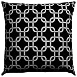 JinStyles Accent Decorative Throw Pillow Cover, Square, Trellis, Black, 16 x 16, 1 Cover