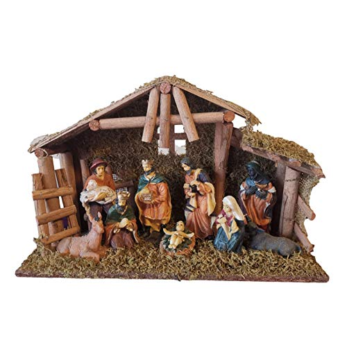 Topaty Nativity Figurines, Nativity Scene, Christmas Nativity Set, Hand-Painted Wooden Nativity Statuette Set, Nativity Manger Group Handicraft Holiday Decoration Catholic Christian Home Gift