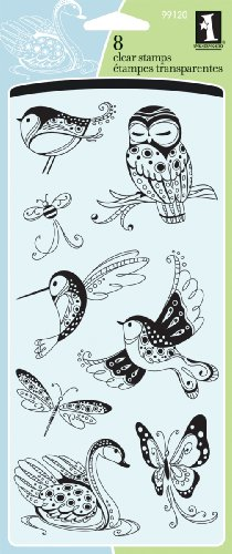 Inkadinkado Patterned Birds and Bugs Clear Stamp Set, 8pc