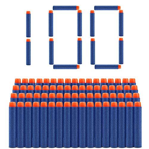 welltop 100 Piezas de Recarga Bullet Foam Darts Ammo Pack para Nerf N-Strike Elite Series Blasters Kids Toy (Azul)