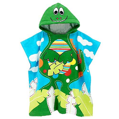 Czemo Kinder Badeponcho Kapuzenhandtuch Kapuzen Strandtücher Bademantel Badetücher für Jungen und Mädchen (Dinosaurier)