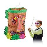 Relaxdays Tiki Grande de cumpleaños para Rellenar, Pinata Hawaiana, piñata India para Colgar, Multicolor (10031480)