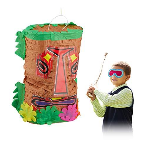 Relaxdays Pinata Tiki, große Geburtstagspinata zum Befüllen, Schlagpinata Hawaii, Indianer Pinata zum Aufhängen, bunt