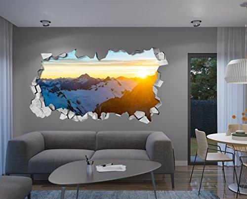 Carta da Parati 3D Effetto (87 x 48 cm, Adesivi Murali Sole sulla Montagna Decorazione Murale 3D)
