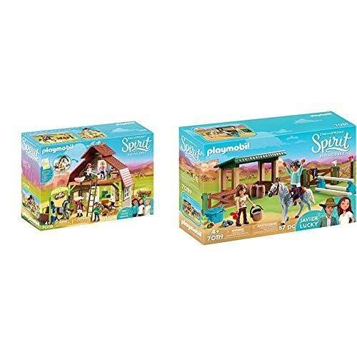 PLAYMOBIL DreamWorks Spirit 70118 Pferdestall mit Lucky, PRU & Abigail, Ab 4 Jahren & 70119 Spirit - Riding Free Reitplatz mit Lucky & Javier, bunt