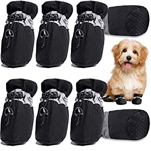 HOOLAVA Dog Shoes, Dog Boots Paw Protector with Reflective Straps, Non Slip Dog Booties for Small Medium Large Dogs and Puppies 2 Sets(Size 5: 2.16″x1.77″)