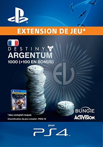 1000 (+ 100 en bonus) Argentum de Destiny [Code Jeu PSN PS4 - Compte français]