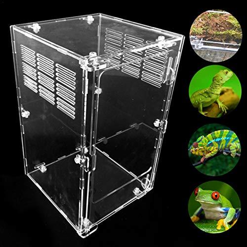 Draulic Terrarium Transportbox,Fütterungsbox Aus Acryl,Reptilien-Zuchtbox Transparent Belüftet,Terrarium Zubehör Transparente Reptilienzuchtbox, Acryl Schieberzuchtbox