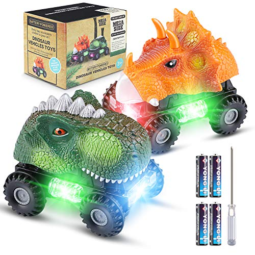 Magicfun 2 Pack Dinosaur Cars, Fun Dinosaur Toys with Cool Light & Sound Effect for Boy and Girls 3 Years Old & Up, Ideal Birthday Christmas Dino Toy Gift