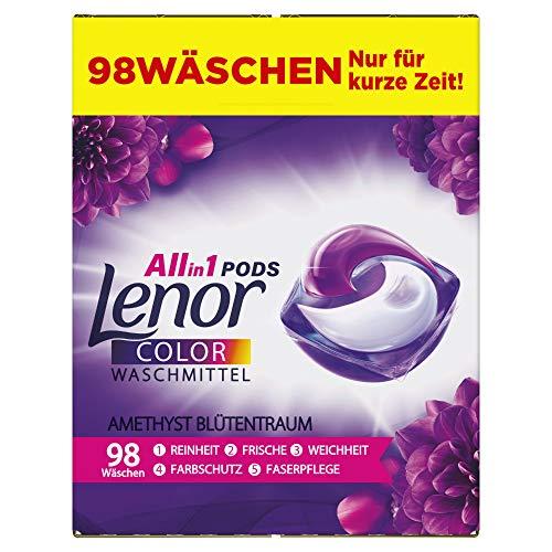 Lenor Waschmittel Pods All-in-1, Color Waschmittel, Frischer Wäscheduft und Farbschutz, Amethyst Blütentraum, 98 Waschladungen (2 x 49)