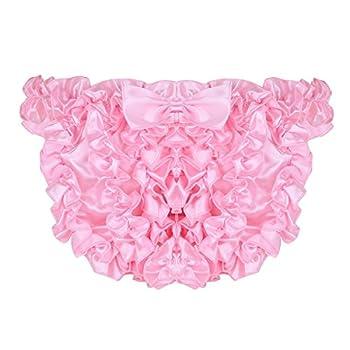 MSemis Men s Frilly Stain Ruffled Sissy Crossdress Panties Maid Briefs Underwear Bloomers Pink XX-Large  Waist 34.0 -61.0