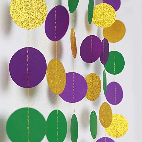 Gold Purple Green Circle Dots Garland Kit Mardi Gras Decoration Paper Bead Polk Dot Streamers Fat Tuesday/Shrove Tuesday Hanging Bunting Banner Backdrop Party Supplies Baby Shower/Wedding/Birthday