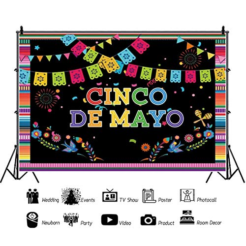 Baocicco 5x4ft Mexican Cinco de Mayo Backdrops Photography Backgrounds Cartoon Colorful Flags Fireworks Floral Maracas Black Backdrops Vacation Holiday Festival Fiesta Photo Booth Studio Props