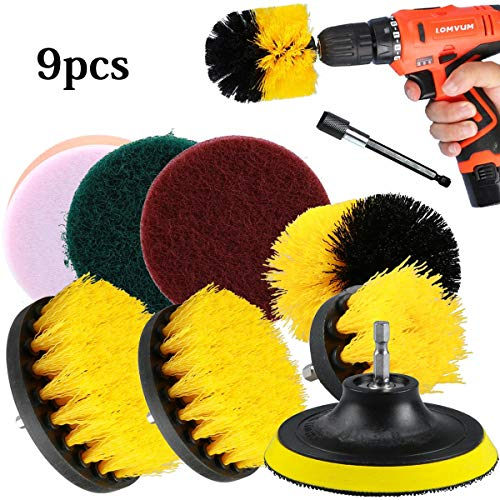 ZITFRI 9 Pezzi Spazzola per Trapano Drill Brush Power Scrubber Spazzole da 2/3,5/4/5 Pollici per la Pulizia Toilette Cucina Bagno Doccia Piastrelle Lavello Auto