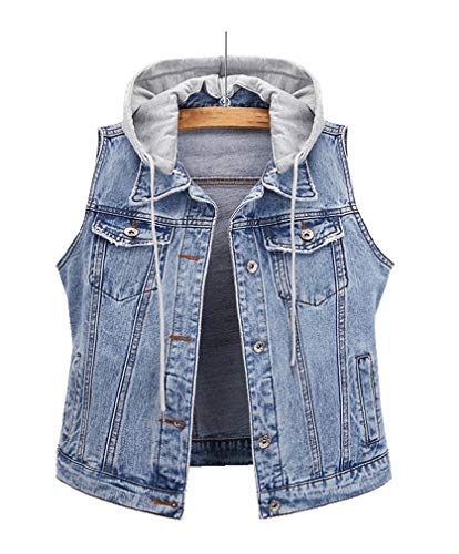 CYSTYLE Neue Damen Jeansweste Jacke Ärmellos Einfache Beiläufige Jeansweste Denim Weste mit Kapuze (Hellblau, XL)