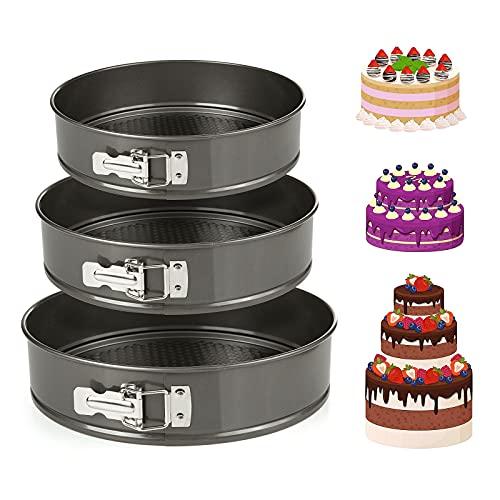 Diealles Shine Cake Pan Set, Springform Bakblikken Set Non-Stick Lekvrij Ronde Springvorm Cake Tin met Verwijderbare Bodem, Cake Tins Set van 3 Maten 9/10/11