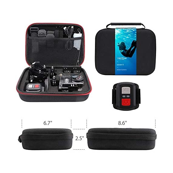 VanTop Moment 3 4K Action Camera w/Gopro Compatible Carrying Case,Remote Control,16MP Sony Sensor,30M Waterproof Camera… 3 【Stunning 4K Technique & Superb Sony Sensor】Optional 4K@30fps, 2.7K@30fps,1080P@60fps,720P@120fps resolutions, high sensitive Sony sensor with improved image focusing, processing speeds. Moment 3 action camera empowers you to capture any memorable moment without any compromise. Stunning 4K video and 16MP photos in Single, Burst and Time Lapse modes. 【Irresistible & Indispensable Accessories】Exclusively customized carrying case for the action camera and accessories: compatible with all Gopro cameras including Gopro HERO 7, Gopro HERO 6. Compact case to keep your action camera-Moment3 and accessories safe, protected and organized. Selected 21 gopro compatible accessories awaits your discovery. (SD Card excluded) 【170°Ultra-Wide Lens & Multiple Modes】Discover a big big world your eyes can reach with the intergraded 170 degrees ultra-wide lens. Burst Shooting, loop recording makes it possible to find the perfect moment afterwards. Time-lapse and slow motion exceed human vision with surprising fun.