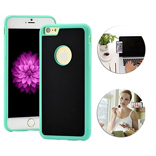"""Shinetop Anti-Gravity Selfie Case for iPhone 7 4.7"""" Hands Free Nano-Suction Technology Phone Case Cover Creative Magical Nano Sticky Can Stick to Glass,Tile,Car GPS,Most Smooth Surface-Black+Green"""
