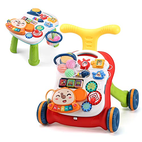 CUTE STONE Sit-to-Stand Learning Walker,2 in 1 Baby Walker,Kids Early Educational Activity Center,Multifunctional Removable Play Panel,Baby Music Learning Toy Gift for Infant,Boys,Girls